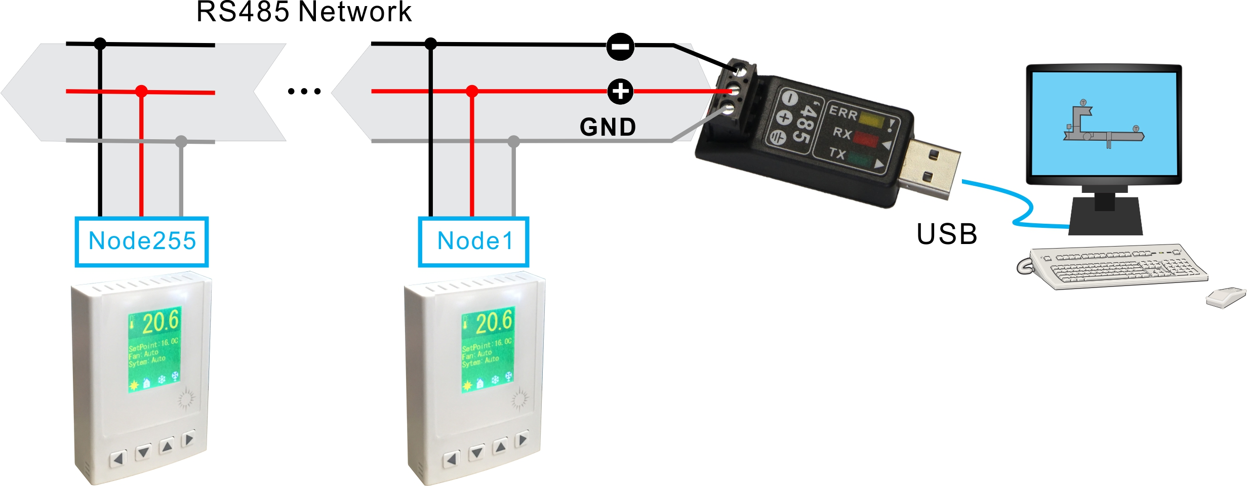 rs485 2 wire connection diagram house electricity wiring tstat8 bacnet thermostat bravo controls