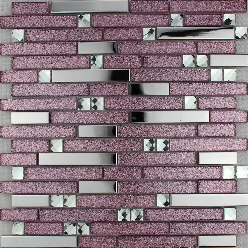 Purple glass mosaic tile backsplash silver stainless steel  diamond crystal kitchen for walls
