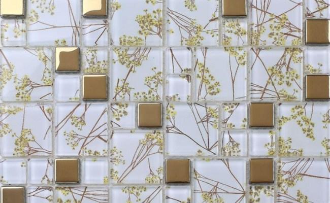 Luxury Golden Tile Wall Mural Flower Mosaic Pattern