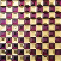 Glass Mosaic Tile Kitchen Backsplash purple & gold Mirror ...