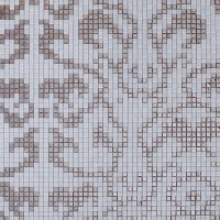 Frosted glass mosaic tile mural plating silver and cream ...
