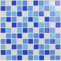 Glass mosaic tile backsplash blue Crystal glass tile ...