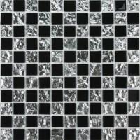 Black glass mosaic floor tile Mirror tile backsplash 4013 ...