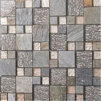 grey glass mosaic tile natural marble tile wall ...