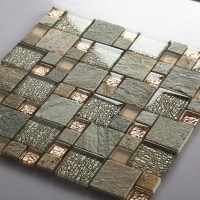 grey glass mosaic tile natural marble tile wall