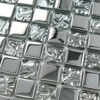 Silver glass tile backsplash ideas bathroom mosaic tiles ...