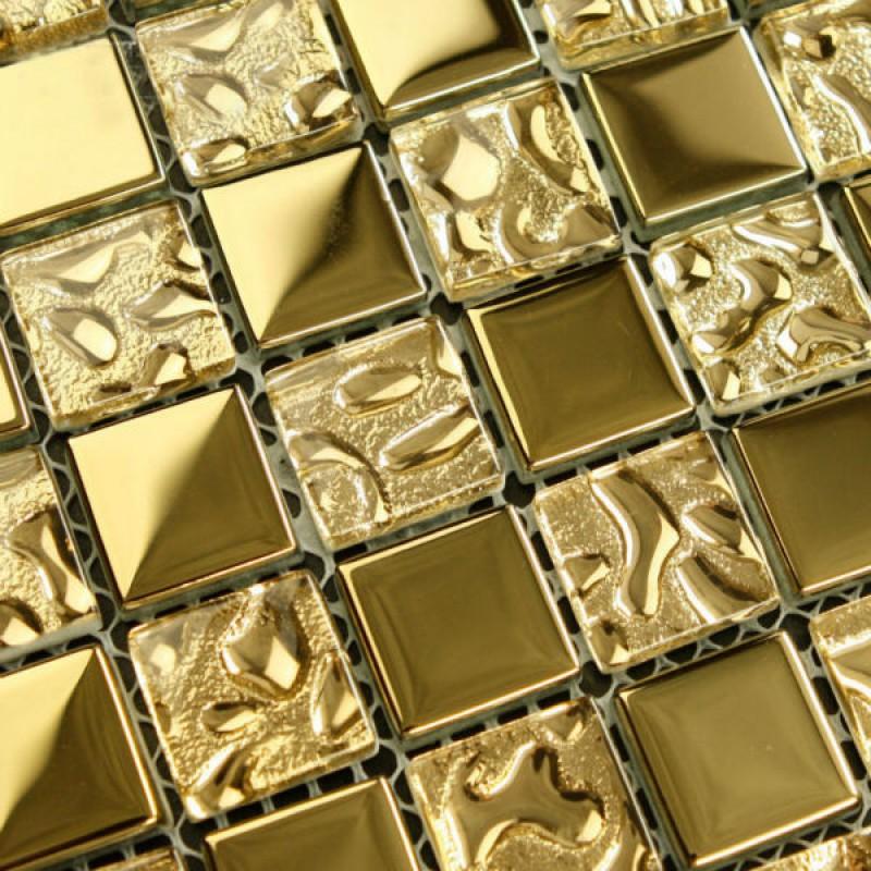 crystal glass mosaic tile sheets gold bathroom wall stickers kitchen backsplash mosaics floor tile swimming pool tiles 8131