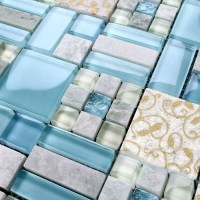 Crystal Mosaic Tile Backsplash Kitchen design colorful ...