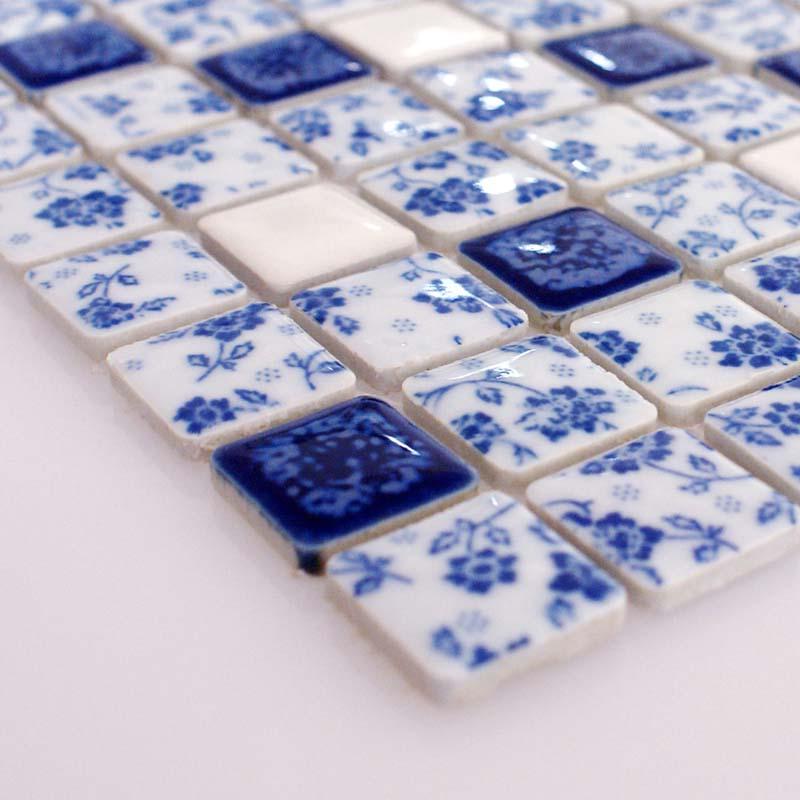 Blue and white porcelain tile kitchen backsplashes glazed
