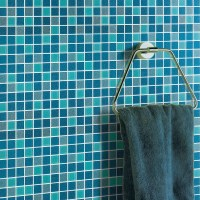 Sea glass tile backsplash ideas bathroom mosaic mirror ...