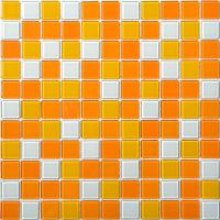 Glass Mosaic Tiles White and Orange Mixed Crystal Glass ...
