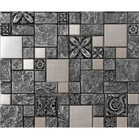 Brushed stainless steel backsplash mosaic tile designs ...