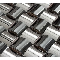 Silver chrome stainless steel backsplash arched mosaic