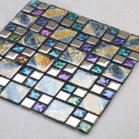 Iridescent glass mosaic tile brick plating crystal glass ...