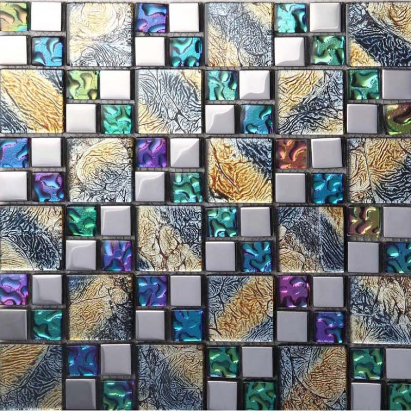 Iridescent glass mosaic tile brick plating crystal glass