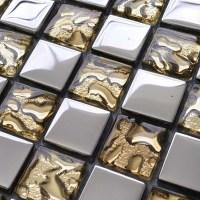 Crystal Glass Tile Sheets Metal Coating Tiles Mosaic Glass ...