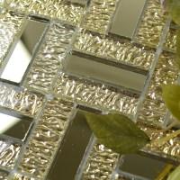 Gold glass mirror tile backsplash bathroom mirrored mosaic ...