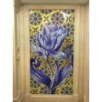 hand made flower tile crystal glass mosaic tile wall ...