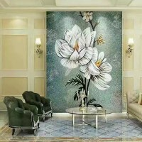 murals puzzle tiles hand made flower tile crystal glass ...