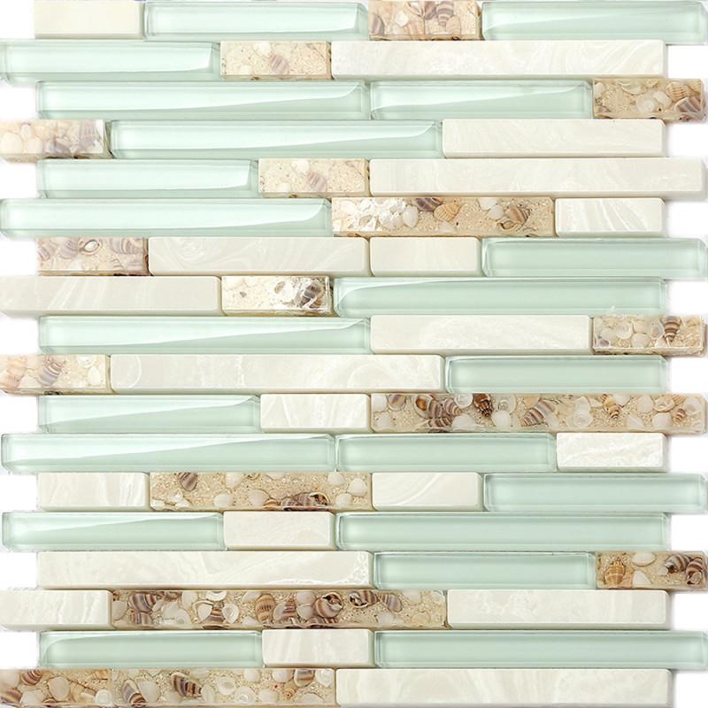 sea green glass tiles beach house style backsplash white stone and resin conch tile bathroom wall decor