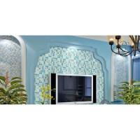 green crackle glass mosaic tile wall backspashes hand ...