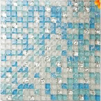 Sea Blue Tile Backsplash Crystal Glass Mosaic Crackle ...