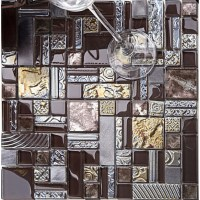Deluxe Glass Metal Mosaic Sheets Brushed Aluminum ...