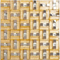 Gold 304 stainless steel mosaic tile yellow crystal glass ...