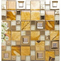 Stainless steel glass tile mosaic sheets metal gold wall ...