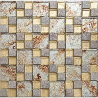Natural Stone Mosaci Tile Wall Art Gold Crystal Glass ...