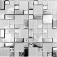 Silver metal and glass tile backsplash ideas bathroom ...