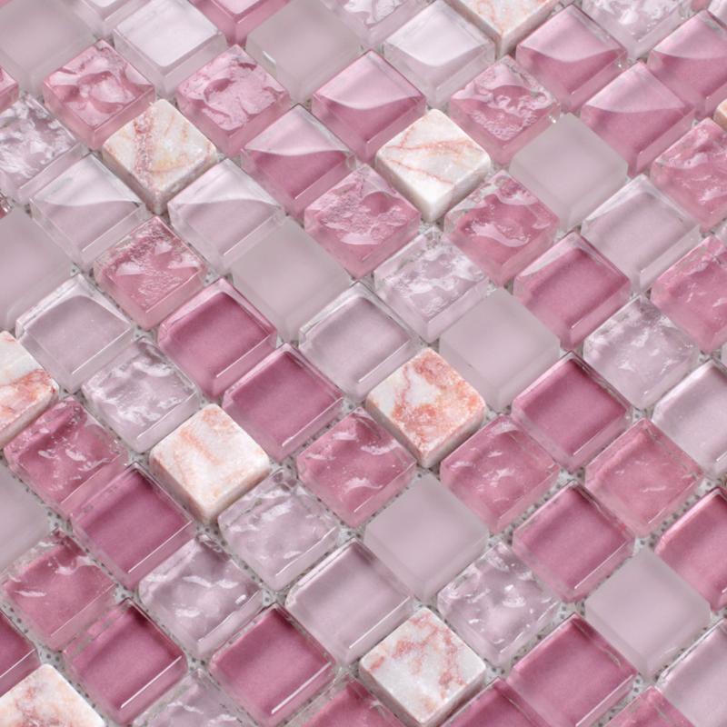 Pink Glass Stone Tile Mosaic Square 3 5quot Frosted Glass
