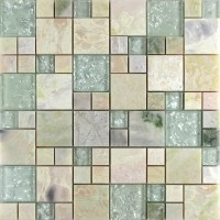 Crystal Glass Tile sheets Stone mix Glass Mosaic Wall