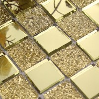Glass mirror mosaic tile sheets gold mosaic bathroom