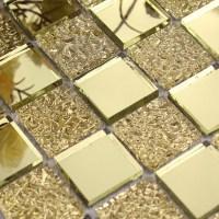 Glass mirror mosaic tile sheets gold mosaic bathroom
