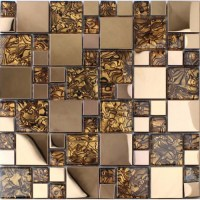 Gold stainless steel backsplash for kitchen and bathroom ...
