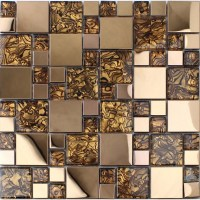 Gold stainless steel backsplash for kitchen and bathroom ...