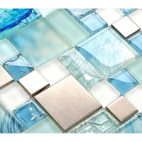 Blue glass mosaic sheets stainless steel backsplash ...