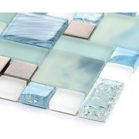 Blue glass mosaic sheets stainless steel backsplash ...