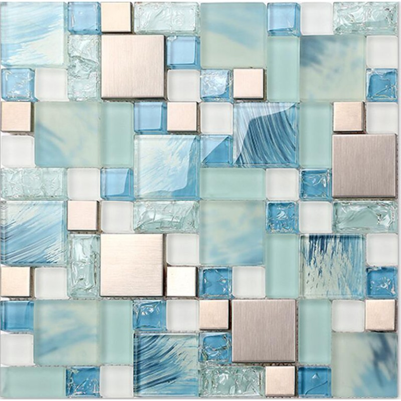 blue glass mosaic sheets stainless steel backsplash crackle crystal glass tiles for kitchen and bathroom metal mosaic wall tiles mgmh10