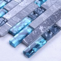 Blue glass stone mosaic wall tiles gray marble tile ...