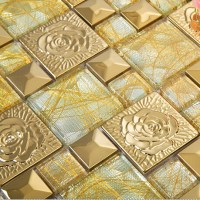 Gold 304 Stainless Steel Flower Patterns Mosaic Glass Wall ...