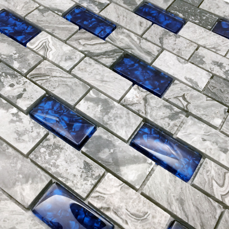 stone and glass wall mosaic 1x2 subway tile royal blue gray backsplash for bath shower and accent