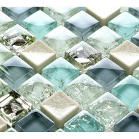Blue ice crack glass tile mosaic sheets beige crackle ...