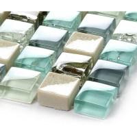 Blue ice crack glass tile mosaic sheets beige crackle ...