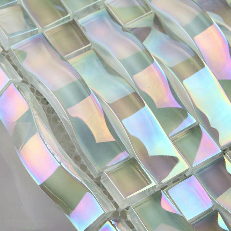 Iridescent glass mosaic tile sheets arch kitchen mosaic backsplash designs  Bravotticom
