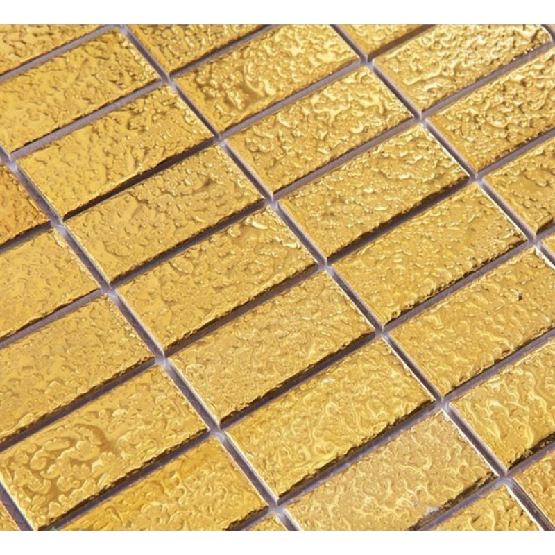 Gold eramic mosaic tile brick arabesque patterns kitchen
