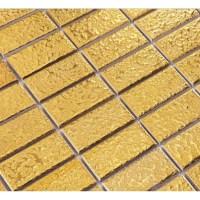 Gold eramic mosaic tile brick arabesque patterns kitchen