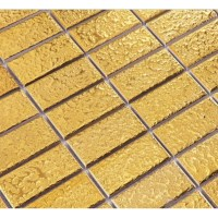 Gold eramic mosaic tile brick arabesque patterns kitchen ...