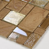 Brown porcelain floor tiles yellow crystal glass tile